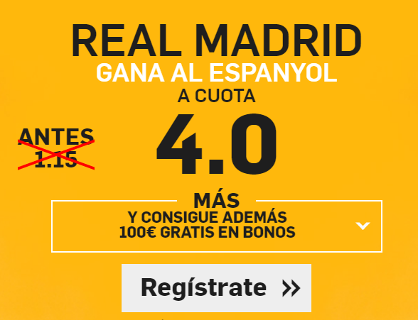 Supercuota Betfair Real Madrid gana Espanyol