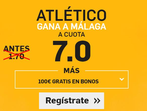 Supercuota Betfair Atlético gana al Málaga cuota 7.0