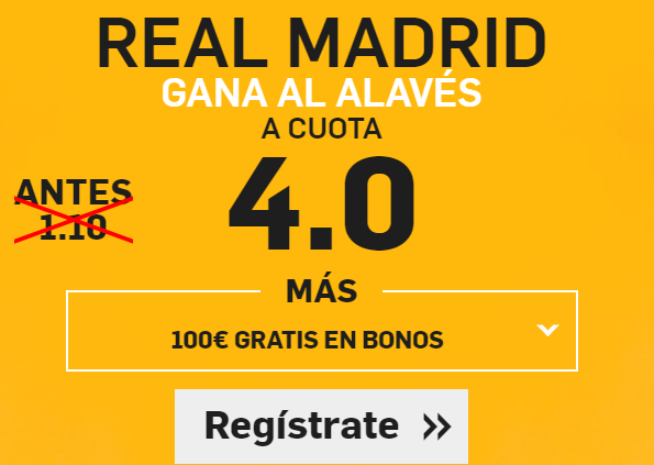 Supercuota Betfair Real Madrid gana al Alavés