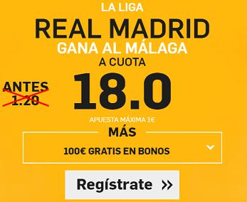 Supercuota Betfair Real Madrid gana Malaga cuota 18