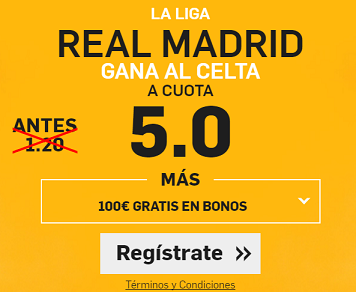 Supercuota Betfair Real Madrid gana al Celta