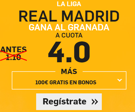 Supercuota Betfair la liga Real Madrid Granada
