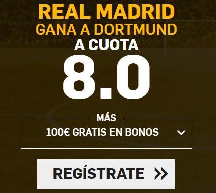 Supercuota Betfair Champions- Real Madrid gana a Dortmund cuota 8.0