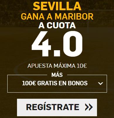 Supercuota Betfair Champions - Sevilla gana a Maribor a cuota 4.0