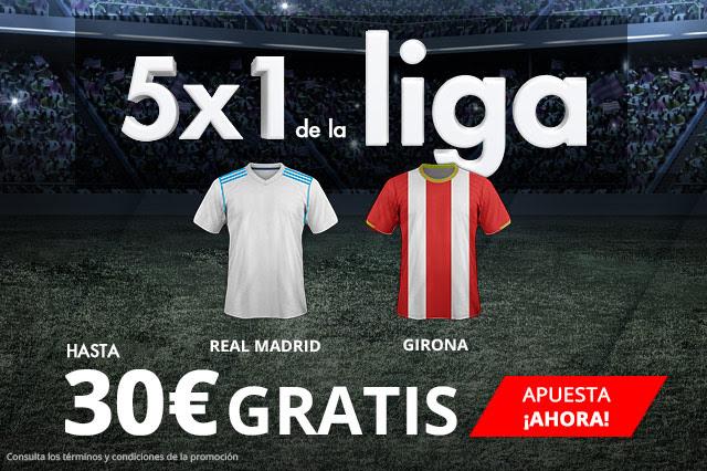 Bonos de Apuestas Suertia la Liga 5x1 hasta 30€ gratis en Real Madrid - Girona