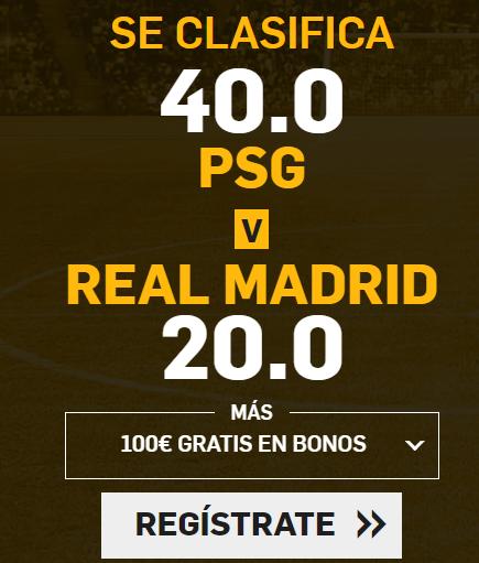 Supercuota Betfair Champions League PSG - Real Madrid
