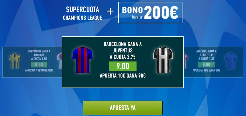 Supercuota Sportium Barcelona Juventus
