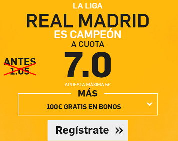 Supercuota Betfair Real Madrid campeon cuota 7