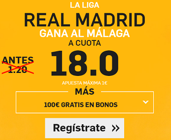 Supercuota Betfair Real Madrid gana Malaga cuota 18