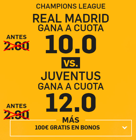 Supercuota Betfair Real madrid gana vs Juventus gana