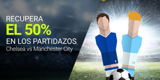 Luckia recupera el 50% en Chelsea vs MAnchester city