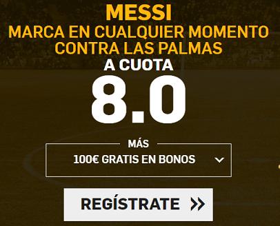 Supercuota Betfair la Liga - Messi marca contra las palmas cuota 8.0