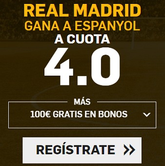 Supercuota Betfair la Liga - Real Madrid vs Espanyol cuota 4.0