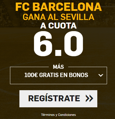 Supercuota la Liga FC Barcelona gana al Sevilla cuota 6.0