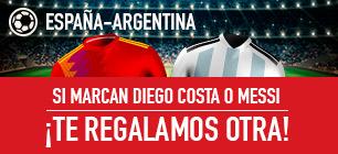 Bonos de Apuestas, Sportium España - Argentina si marcan diego costa o messi ¡te regalamos otra!