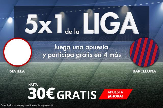Bonos de apuestas Suertia 5x1 la Liga Sevilla - Barcelona hasta 30€ gratis
