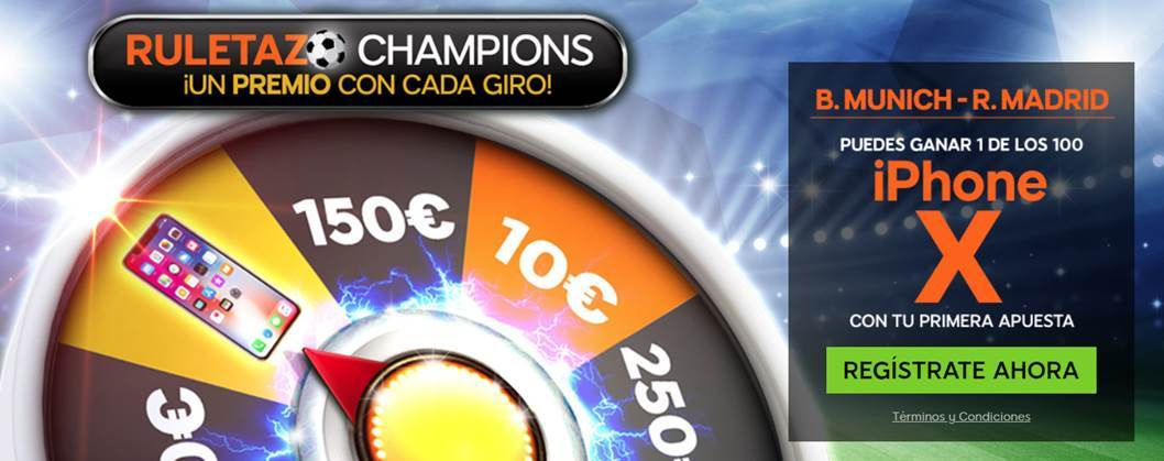 bonos de apuestas 888Sport Champions League B. Munich - R. Madrid gana un iphone X