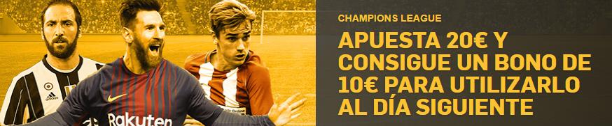 bonos de apuestas Betfair Champions League Apuesta 20€ y consigue 10€ para el día siguiente