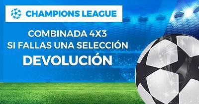 Bonos de Apuestas Paston 4x3 Champions League Si fallas una selección Devolución