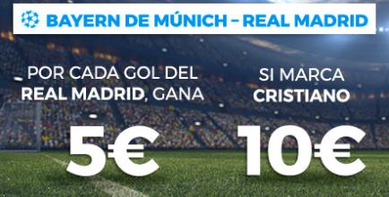 bonos de apuestas Paston Champions League: Bayern - Real Madrid, gana por cada gol del R. Madrid y Cristiano