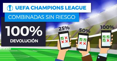 Bonos de Apuestas Paston Champions League Combinadas sin riesgo 100% devolución