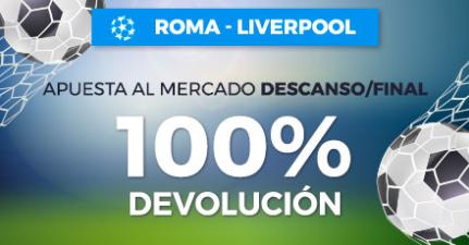 bonos de apuestas Paston Champions Roma - Liverpool 100% devolución