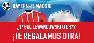 bonos de apuestas Sportium Bayern-R.Madrid: Si Lewandowski o Ronaldo marcan el 1er Gol... ¡Devolución!