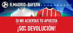 bonos de apuestas Sportium Champions Promo R.Madrid-Bayern: Apuesta y si fallas ¡50% Devolución!