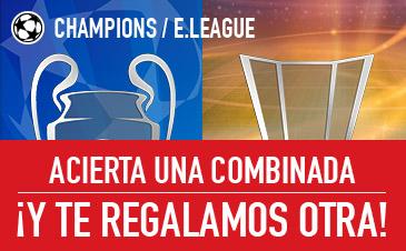 bonos de apuestas Sportium Champions y E.League: Acierta una combinada ¡Y te regalamos otra!