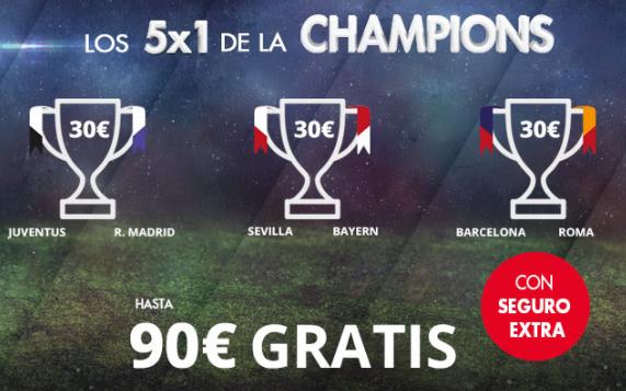 Bonos de Apuestas Suertia 5x1 Champions hasta 90€ gratis