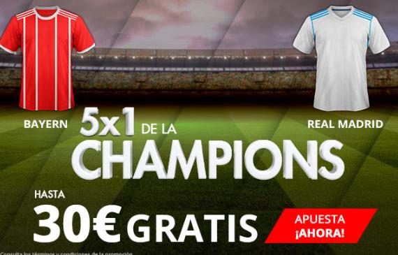 Suertia 5x1 de la Champions Bayern - Real Madrid hasta 30€ gratis