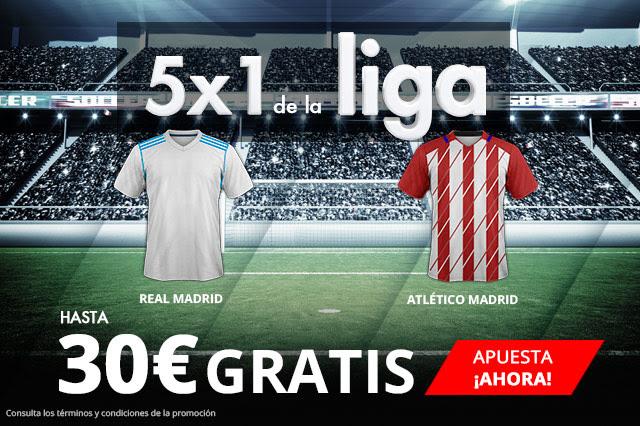 Bonos de apuestas Suertia 5x1 de la Liga Real Madrid - Atlético Madrid hasta 30€ gratis