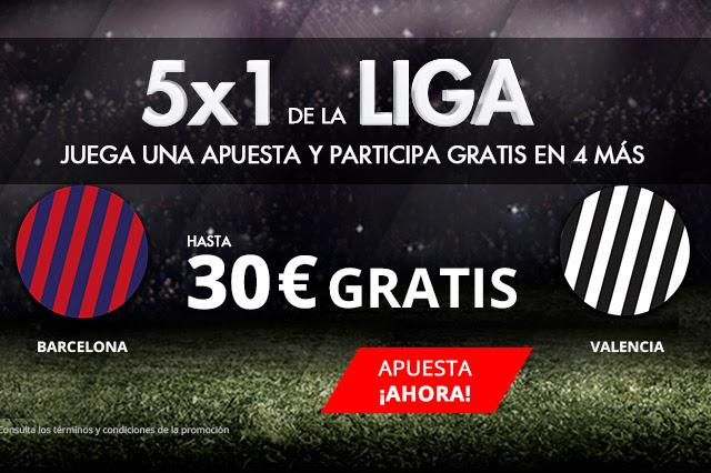 Bonos de apuestas Suertia 5x1 la Liga Barcelona - Valencia