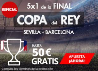bonos de apuestas Suertia Final Copa del Rey Sevilla - Barceclona 5x1 Hasta 50€ gratis