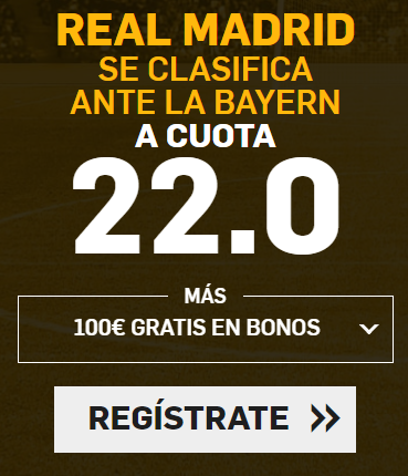 bonos de apuestas Supercuota Betfair Champions League: Real Madrid vs Bayern
