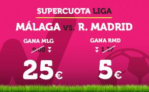 bonos de apuestas Supercuota Wanabet la Liga: Málaga cuota 25 vs R. Madrid cuota 5