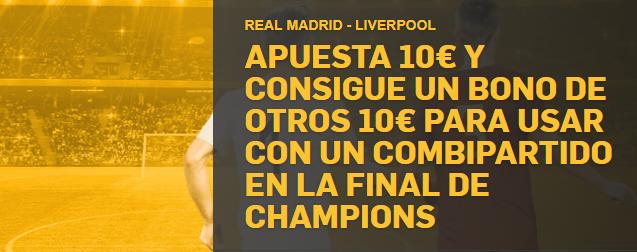 bonos de apuestas Betfair Champions Real Madrid - Liverpool apuesta 10€ y consigue otros 10€
