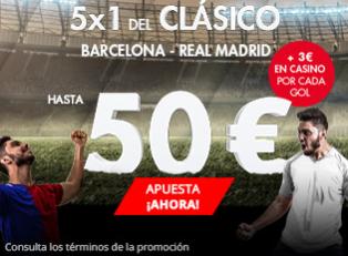 bonos de apuestas Suertia 5x1 del Clásico Barcelona - Real Madrid hasta 50€