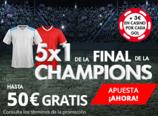 Suertia Final Champions 5x1 hasta 50€ gratis