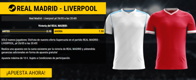 bonos de apuestas Supercuota Bwin Champions League Real Madrid vs Liverpool
