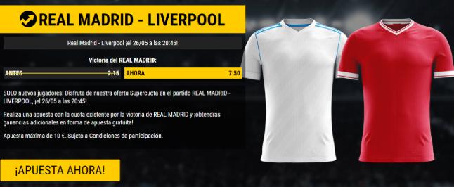 bonos de apuestas Supercuota Bwin Champions League Real Madrid vs Liverpool