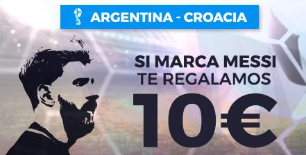 bonos de apuestas Paston Mundial Argentina - Croacia Si marca Messi 10€ de regalo!