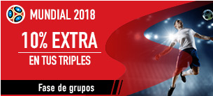 bonos de apuestas Sportium Mundial 2018 10% extra en tus triples