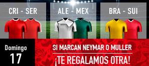 bonos de apuestas Sportium Mundial Domingo 17 Si marca Neymar o Muller Regalo!