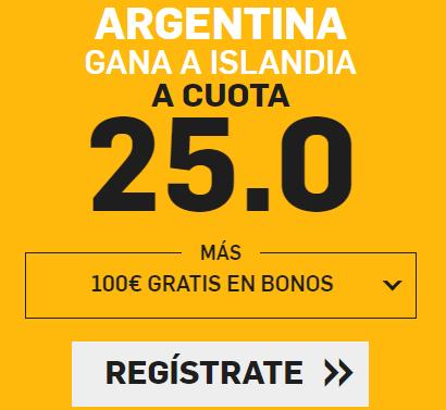 bonos de apuestas Supercuota Betfair Mundial Argentina - Islandia