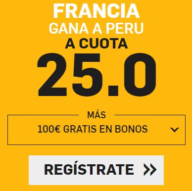 bonos de apuestas Supercuota Betfair Mundial Francia - Peru