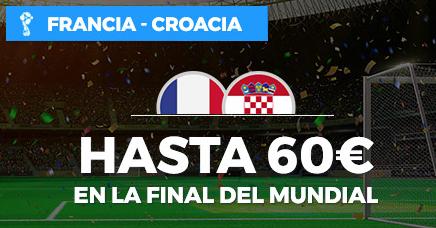 bonos de apuestas Paston Mundial Francia - Croacia Hasta 60€ en la final del mundial